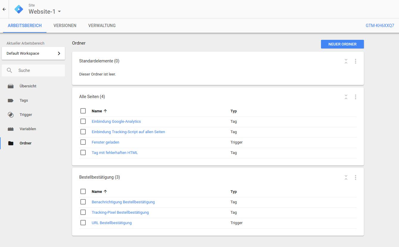 Übersicht Google Tag Manager