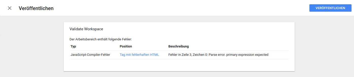 Fehlerbehebung Google Tag Manager