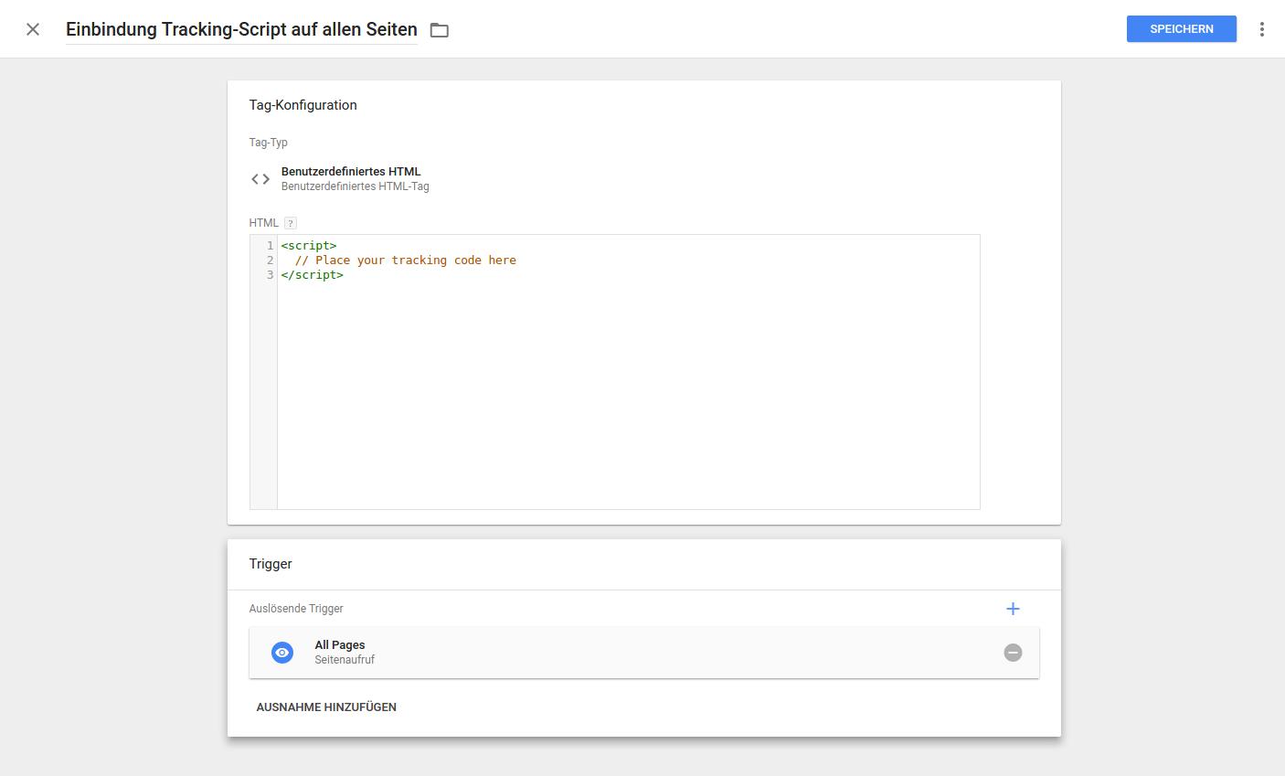 Google Tag Manager Tag hinzufügen