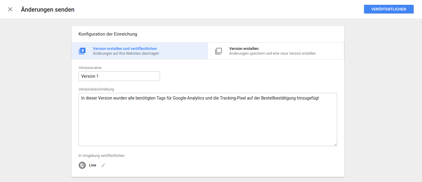 Versionierung Google Tag Manager