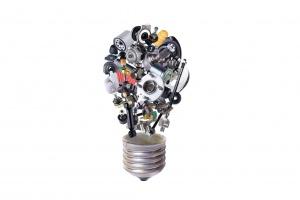 Auto spare parts items in bulb idea